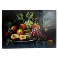 19th Century Framed Still Life Oil On Wood Panel From France