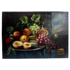 Late 19th Century Framed  French Still Life Oil On Canvas With Fruits And Butterfly