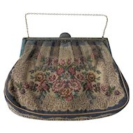 19th Century Tapestry Evening Bag With Enamel And Pearls Closure