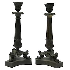 19th Century Pair Of Neoclassical Bronze Column Lamp Bases From France