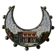 19th Century Italian Micro Mosaic Crescent Shaped Brooch