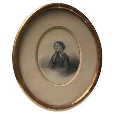 Mid-19th Century Graphite Portrait Signed F. Arsant