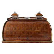 French Marquetry Cylinder Rolled Top Writing Box Circa 1820's