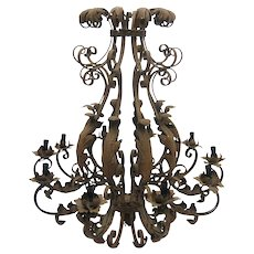 Large French Chateau Wrought iron 10 Arms Chandelier Circa 1900's