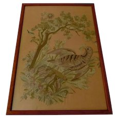 19th Century Silk Embroidery With Nesting Partridge From France