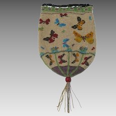 French Beaded Reticule With Flying Butterflies Decor Circa 1900