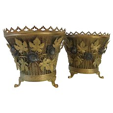 19th Century Pair Of French Brass Centerpiece Tabletop Cachepots