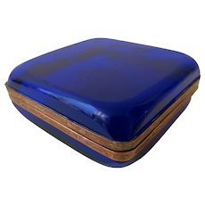 19th Century Blue Crystal Casket Box From France