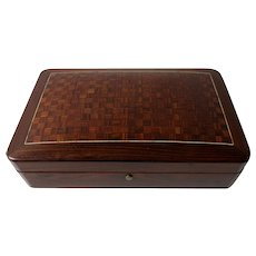 19th Century French Marquetry Box For Playing Cards From The Second Empire