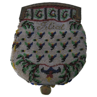 19th Century French Souvenir Micro beaded Coin Purse