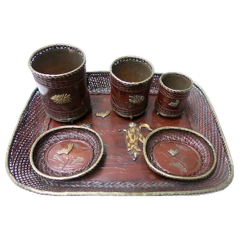 19th Century Japanese Meiji Desk Set In Metal With Shakudo Ornaments