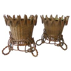 19th Century Tabletop Centerpiece cachepots In Woven Brass Wire
