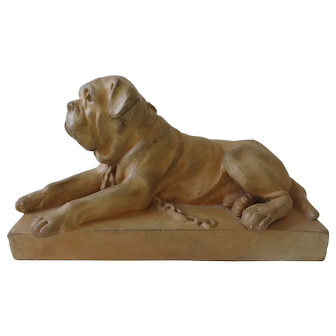 French Terracotta Dog Sculpture Of French Mastiff Circa 1900