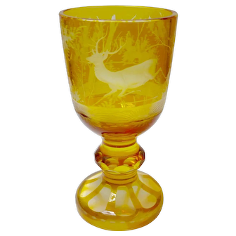 Bohemian Crystal Citrine Goblet With Stag Circa 1910