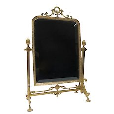 Empire Style Brass Table Top Swinging Psyche Mirror