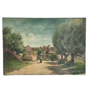 19th century unframed oil canvas Of French Village
