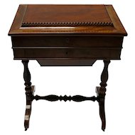 Victorian Mahogany Sewing Table With Drawers And Spindle Legs