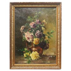 1894 Large Framed Oil Still Life With Roses On Canvas With Gilt Frame