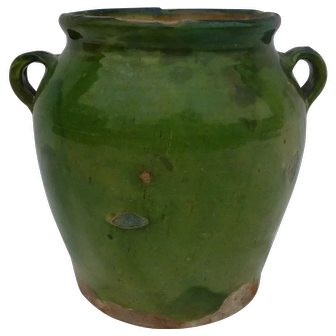 Rare Green Confit Pot  19th Century Provence Pottery
