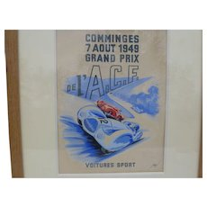 Original Automobile Racing Artwork Poster from 1949