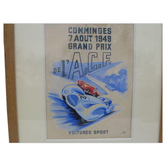 Original Automobile Racing Artwork Poster from 1949