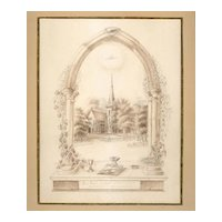 19th Century Original Drawing, Rural Church Scene, Very Well Done, Unknown American Artist