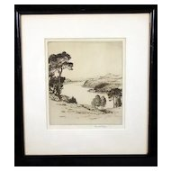 "Early 20th Century English Etching, ""Ullswater"" Landscape, Listed British Etcher Reginald Green 1884-1971"