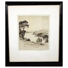"""Early 20th Century English Etching, """"Ullswater"""" Landscape, Listed British Etcher Reginald Green 1884-1971"""