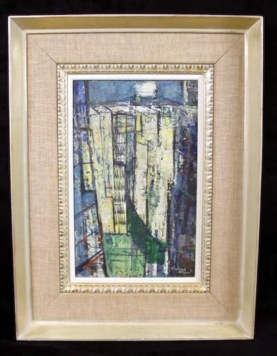 1951 Abstract Buildings Urban Landscape By Listed American Artist Ferdinand E Warren 1899 1981