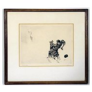 Fine Early 20th Century Etching of a Wolf Attack Signed Nelson