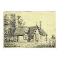 Outstanding Early English Pencil Drawing Cottage With Figure and Deer