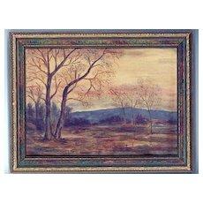 Fine 1920's Tonalist Landscape, American, Oil Painting on Board, A. Hursh