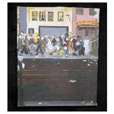 1948 Social Realist Painting, Figures on a Sidewalk, Signed Peters