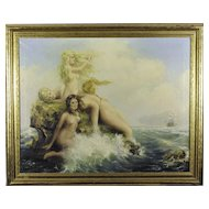 Large Original Illustration Painting, Nude Mermaids by M. R. Addy