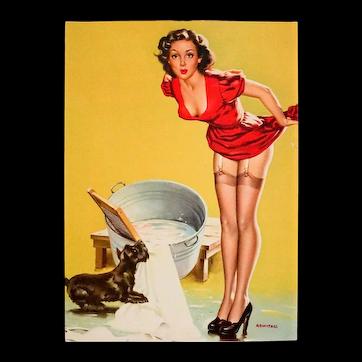 Wonderful Vintage Pinup Print, Dog-On-It, by Arnold Armitage