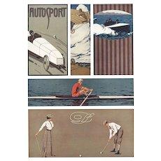 Art Deco / Nouveau Sports Graphic / Lithograph K. Biebrach
