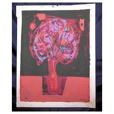 "Eames Era Serigraph, ""Still Life"" by Listed NY/MI Artist Owen Brainard"