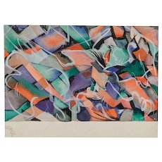 Wonderful Mid Century Abstract Watercolor Signed Carr Number 8