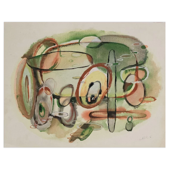 Wonderful Mid Century Abstract Watercolor Signed Carr Number 6