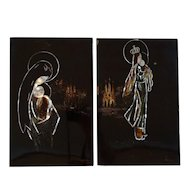 Rare Pair of Lacquer Panels by Tran Phuc Duyen (1923-1993)