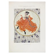 Art Nouveau Graphic Print c. 1904, Dancing Figure by R. Geyling
