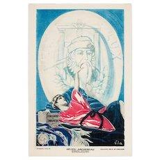 Vintage French Art Deco Graphic, Helios-Archereau, Signed Vila, Paris