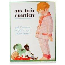 Vintage Art Deco Graphic, Aux Trois Quartiers, Signed Maggie Saucedo, Paris