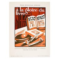 Striking Vintage Art Deco Graphic, Gloire du Livre 1437-1927