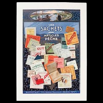 Vintage French Art Deco Advertisement, Fishing Line, Paris