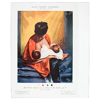 1927 French Art Deco Advertisement, Society of Modern Printing, Mother With Twins