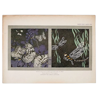 Fine Dragonfly and Butterfly Design by Wiener Werkstätte Artist Ludwig H. Jungnickel