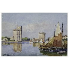 Fine French Watercolor of a Coastal Scene by Signed
