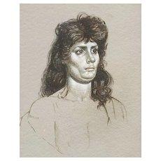 """1962 Original Sei-nude Drawing """"Gypsy Girl"""" by Bruce Hafley"""