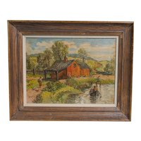 "Signed Woodstock Painting ""Red Barn- Summer"" by NY Artist H. Harvey"